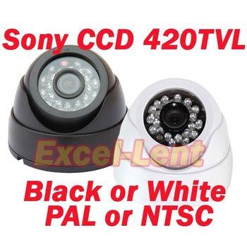 Free shipping,420TVL Color Sony CCD CCTV Security Mini Dome Video Camera (Black or White)