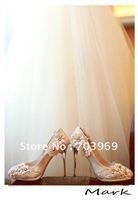 Free shipping-fashion nylon lace lady Marry shoe.sheepshin Wedding shoes.high heels