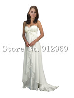 Fashion Beaded Lace Chiffon Beach Informal Destination Wedding Dress
