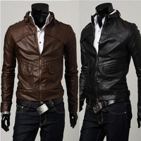 Мужские изделия из кожи и замши Men's Faux Leather Jacket Fit Slim PU Leather With hooded CVC Sleeve Zip up Coat SIZE M-XXL Black Grey White J18