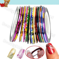 29 Mix Color Rolls Striping Tape Metallic Yarn Line Nail Art Decoration Sticker Free Shipping 4964(China (Mainland))