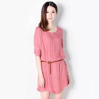 2012 gentlewomen elegant long-sleeve medium-long shirt short skirt one-piece dress 2