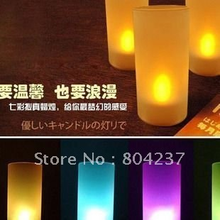 free shipping Top LED Electronic 7 Changing Color Candle Night Light Flicker(China (Mainland))