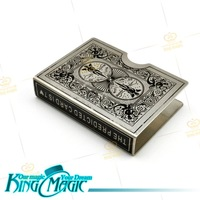 FREE SHIPPING- Stainless steel Bicycle Card Protector-silver angle pattern -king magic trick props/magie/magia-free shipping