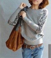 Free shipping women's long bat-wing leopard print sleeve mercerized cotton knitting sweater