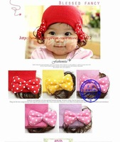 12pcs/lot free shipping Design Baby Fashion Double Bowknot Wig Hat MB022p