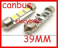 Free Shipping No Error Canbus LED Car Light BMW Benz Audi 39mm 3SMD 5050 LED Festoon Bulbs aliexpress alibaba white 500pcs/lot
