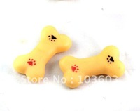 Audible rubber mini bones toy, pet dog paw prints rubber toy, 9.5*5*2cm  10pcs/lot+ Free Shipping