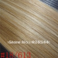 Clip In Remy Human Hair Extensions 7pcs/set #18/613 blonde mix 16/30inch free shipping,high quality