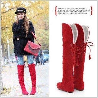Frete Grátis, Nova marca de moda Senhoras Senhoras botas de inverno botas encantadores overknee borla botas longas(China (Mainland))