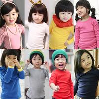 Clean Stock ! 2015 Spring child girls clothing top autumn 100% cotton baby basic shirt slim long-sleeve T-shirt