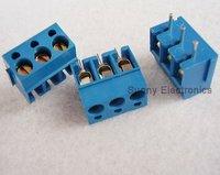 Free shipping 20PCS 300V 16A Blue 5.0mm 3pin Screw Terminal Block Connector