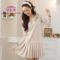2012 autumn long sleeve plus size clothing romantic sweet lace creased one-piece dress