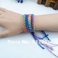 Fashion jewelry cords braided leather hemp friendship rope bracelets mixed color