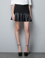 NEW excellent quality, European style spring autumn&winter elegant SEXY leather short skirt, ladies waist skirt