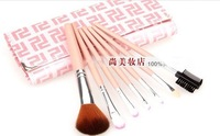 Nice Pink Colore 7Pcs/set Have 3colores Cosmetic Eye Shadow Blush Brushes Hair Makeup Set soft