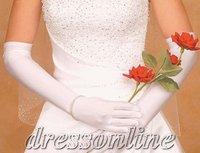 GL090 Stunning With Finger Above Elbow Length Full Finger Cheap Ivory White Bride Gloves Free Size