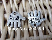 "s10646 Free Shipping 400pcs Tibet Silver Hand Charms with ""Hand Made"" charms"