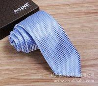 Brand fashion business Dress Mens Necktie Tie Blue Plaid polyester silk tie