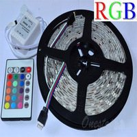 5050 RGB Flexible LED Strip Light 60led/m 300LED 5M SMD waterproof 12V+IR Controller Free Shipping