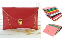 Fashion 2012 New Ladies Leisure Shouder Bags Red Clutch Handbag Wallet Purse Metal Chain Candy Color