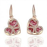 Retail Fashion crystal color preserving gold alloy earrings - two people love