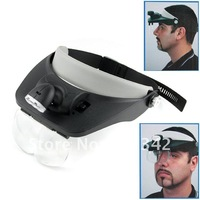 LED Head Light Flashlight Headlamp with Magnifying Glass 1pc Free Shipping 901743-HP-LG-1024