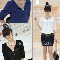 Casual Fashion new Korea Women V-neck Studs half Sleeve Chiffon Blouse shirt Top Black White Blue free shipping 7424(China (Mainland))