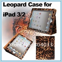 Magnetic Leopard PU Leather Fold Cover Smart Case Stand For the New iPad 3/ 2 Brown, Free Shipping