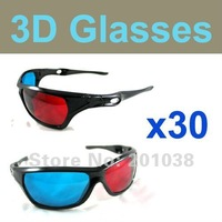 30 pieces/lot wholesale Re-useable Plastic Frame Lens Anaglyphic Blue + Red DVD 3D Glasses