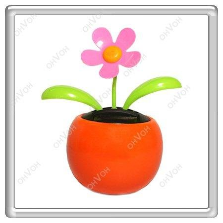 K5M Solar Powered Flip Flap Flower Car Geek Toys Swing Dancing Flowerpot Gift(China (Mainland))