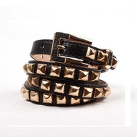 Free shipping imported high-quality PUNK!  Women Gold Toned Pin Buckle Lizard Embossed Stud Belt ladies belts A166so