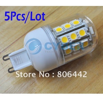 5Pcs/Lot SMD 5050 30 LED 200-240V LED Spot Light G9 Bulb Lamp 300LM Warm White Free Shipping