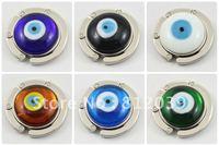 Free shipping wholesale Mix color Evil Eye bag hook Round foldable Bag Hanger/Purse Hook/Handbag Holder  6pcs/lot BG032-BG037