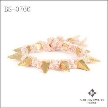 wholesale  Pyramid bangles spike chain handmade bracelets friendship chain  fashion jewelry -free shipping