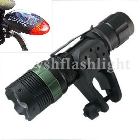 Flashlight 400Lumens 7W CREE Q5 LED Adjustable ZOOMABLE SA-9 Torch bicycle light+holder+Solar Rear Light 1set freeshipping!(China (Mainland))