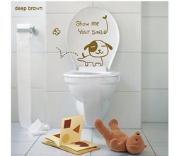817Free Shipping the smiling dog ceramic tile glass window commode paste@deep brown@@stickers wall home decor Bath crock Hot(China (Mainland))