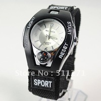 Women Men's WOMAGE Quartz Sport Wrist Watch with Faux Compass Black JM046