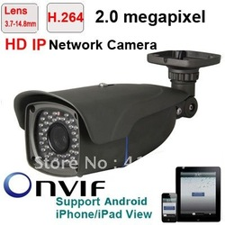 CCTV Security 2.0 Megapixel 1600*1200 3.7-14.8mm 4X optical zoom Lens Auto Focus Waterproof Outdoor 50m IR IP Network Camera(China (Mainland))