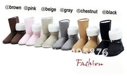 2012 HOT ! Women's Winter Snow boots for Lady & Gray,Coffe,Brown,Purple,Black,Beige,Pink(China (Mainland))