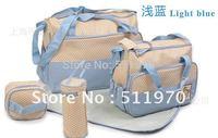 Free Shipping 2012 Hot Sale 7sets/lot(5pcs/set) Multi Function Baby Diaper Bag Mummy Mama Nappy Tote Handbag Mother Bag