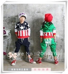 children clothing sport set flag printing 2 pcs suit boy's girl's Hooded sweater shirts + pants whole suit outfits free shipping