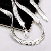 free shipping! 20INCH  10MM Wide herringbone style chain  925 silver jewelry neckalce KKNN19  Cool men style chain