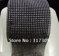 "Black  Color, Diamond Mesh Ribbon Wrap (no stone), 4.75""Wide x 10Yards / Piece, Free Shipping, Wedding & Party Decor"