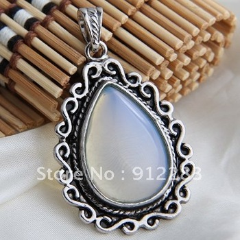 Free Shipping 10pcs 49*35mm Tibet Silver Teardrop Opal Necklace Pendant, Fashion Pendants