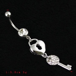 Lock Belly Ring!Good Selling 10PCS/Lot Free Shipping,BJ00441!Stainless Steel Rhinestone Key Lock Body Piercing Belly Products(China (Mainland))