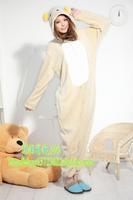 Cartoon stitch coral fleece animal one piece sleepwear bear