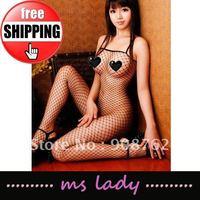 10pcs/lot Sexy Fishnet Bodystocking Babydoll Lingerie Chemise sleeveless black color Free Shipping HK airmail