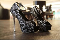 Ladies Sexy Red Bottom High Heels Open Toe Platform Women Pumps Shoes Female Woman With China Embroidery Ankle Strap Hus1895-16