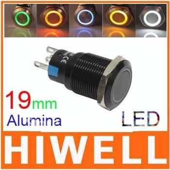 Alumina push button switch momentary  ring illuminated 19mm diameter 1NO1NC